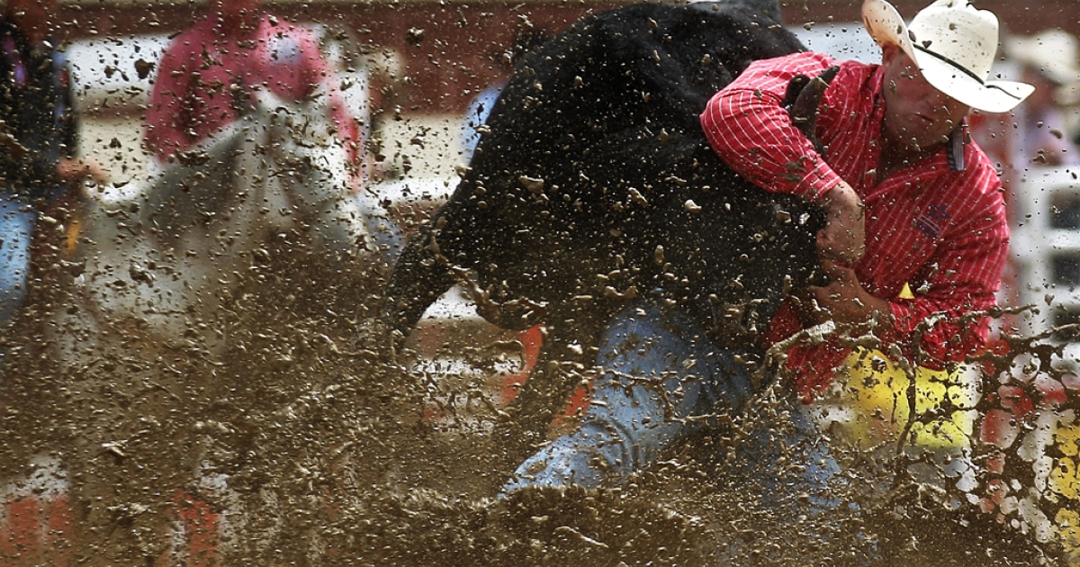Jule Hazen competes in steer wrestling at the Calgary Stampede rodeo on July 11, 2011, in Alberta, Canada. The 10-day event is billed as the 'Greatest Outdoor Show on Earth.'</p>