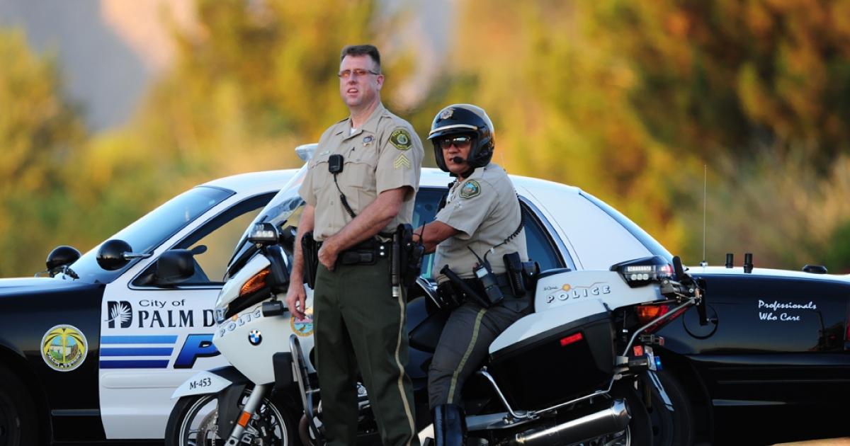 City of Palm Desert police are outside at St. Margaret's Episcopal Church in Palm Desert, California.</p>