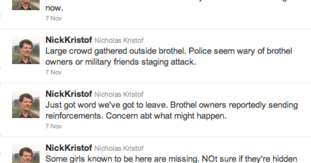 A screen grab of New York Times columnist Nicholas Kristof's Twitter account of a Cambodian brothel raid.</p>