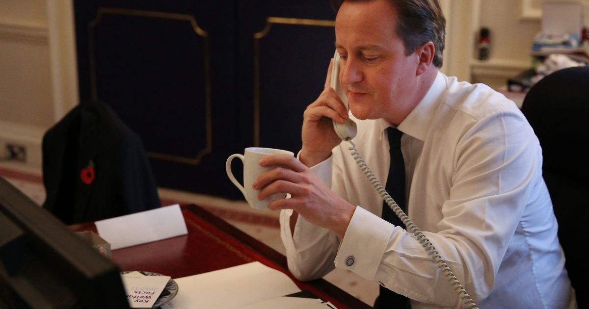 British Prime Minister David Cameron congratulates President Obama on Wednesday.</p>