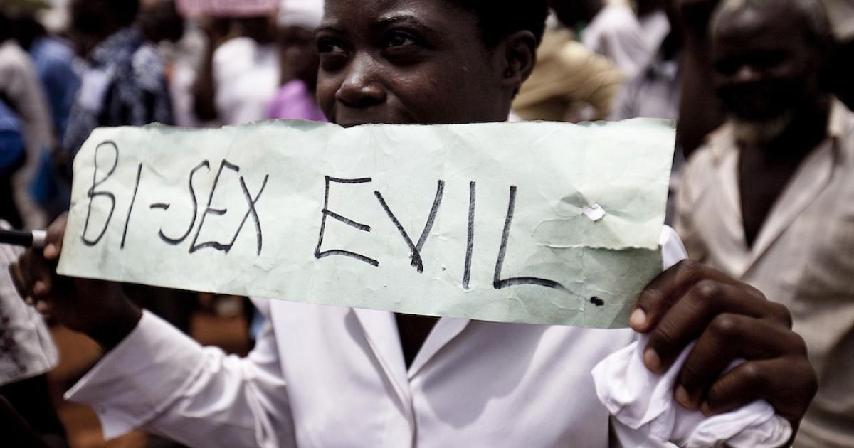 A Ugandan woman takes part in an anti-gay demonstration in Jinja, Kampala on Feb. 14, 2010.</p>
