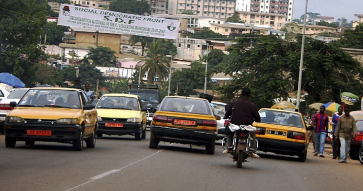 Traffic in Cameroon's capital, Yaounde. Cameroon has banned all night-time public transport on roads, including buses and taxis, in an attempt to curb accidents caused by drunk driving.</p>