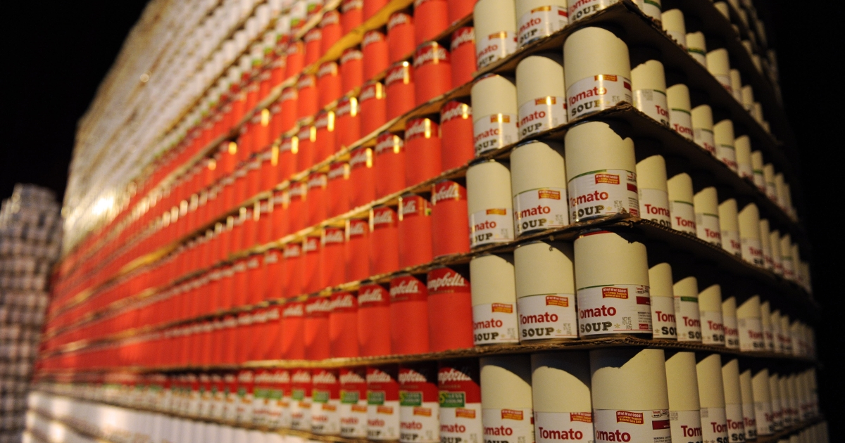 A world-record-sized sculpture made of 30,000 Campbell's soup cans in the shape of a slice of cheesecake in Washington, DC, on Oct. 1, 2009.</p>