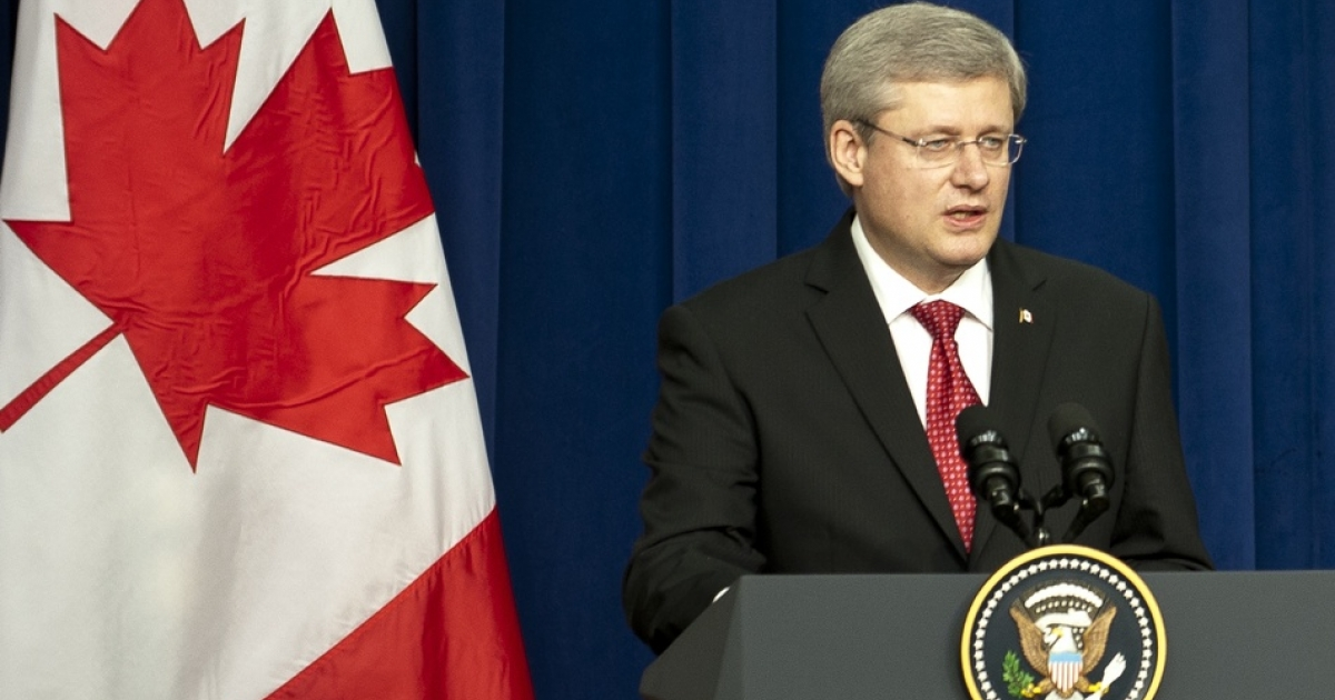 Canadian Prime Minister Stephen Harper. His words at Davos weren't well received at home.</p>
