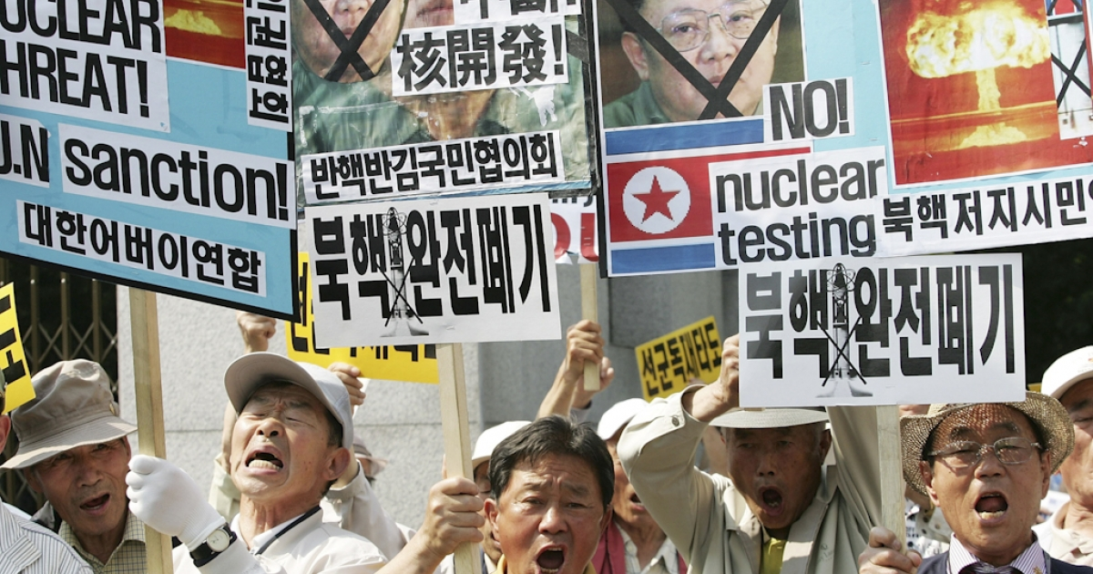 Protesters rally against North Korea on May 25, 2009 in Seoul, South Korea, after Pyongyang announced that it had successfully conducted a second nuclear test.</p>