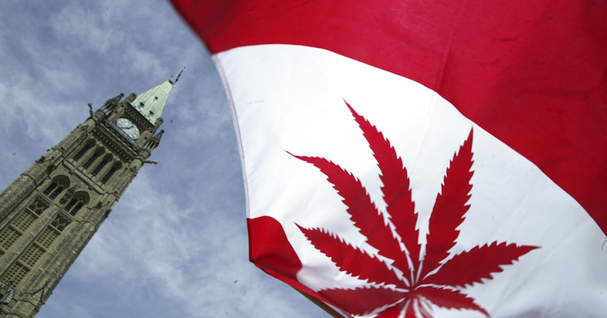 A Canadian flag with a marijuana leaf flies during a rally in support of legalizing marijuana on Parliament Hill in Ottawa, Canada.</p>