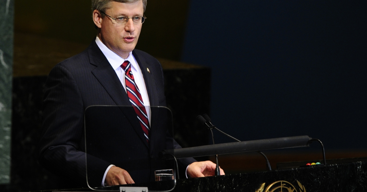 Canadian Prime Minister Stephen Harper addresses the 65th General Assembly at the United Nations headquarters in New York on Sept. 23, 2010.</p>