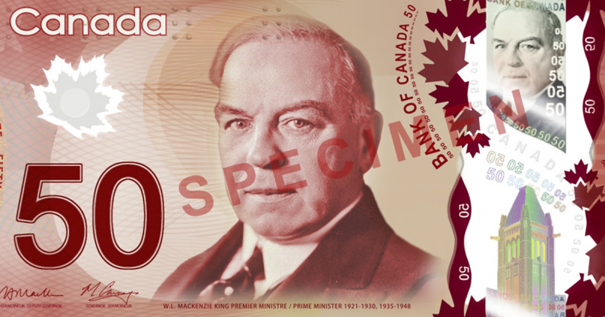 Canada's new plastic $50 banknote is pictured here. Read into it what you will.</p>