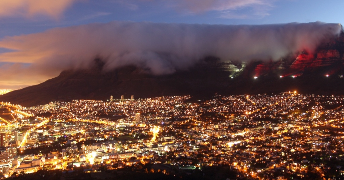 A view of Table Mountain in Cape Town, South Africa. Here the mountain that defines Cape Town is lit up with red lights to mark World AIDS Day on December 1, 2010.</p>