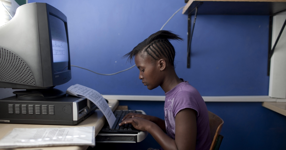 An unidentified student works on the computer on April 20, 2012 in Cape Town, South Africa. She is studying for a certificate in basic computer knowledge as part of a three to six-month course.</p>