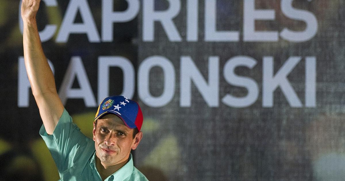 Venezuelan opposition leader Henrique Capriles Radonski celebrates after winning the primary elections in Caracas on Feb. 12, 2012.</p>