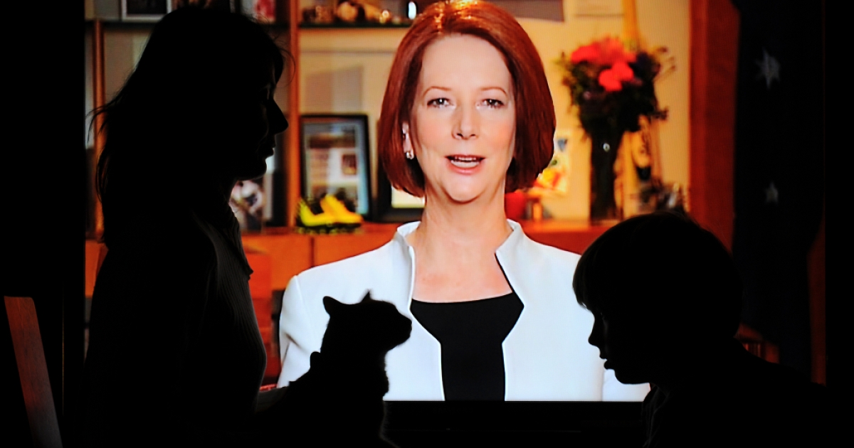 Australian Prime Minister Julia Gillard addresses the nation on July 10, 2011, announcing plans to tax carbon pollution.</p>