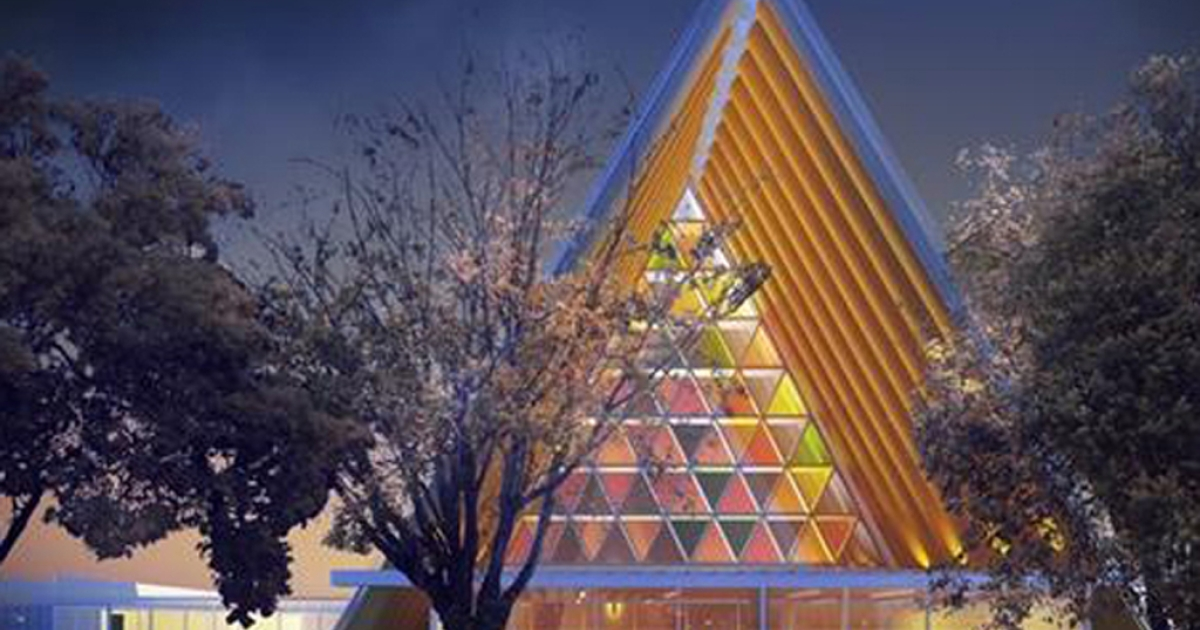 This undated artist rendering shows the cardboard cathedral unveiled April 16, 2012, by the Anglican diocese of Christchurch. The church will serve as a temporary replacement until the iconic Christchurch Cathedral can be rebuilt following last year's earthquake.</p>