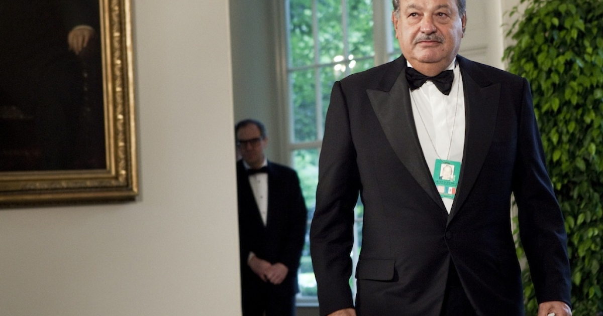 Carlos Slim arrives at the White House in Washington DC for a state dinner on May 19, 2010.</p>