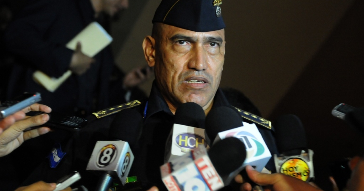 New National Director of Police in Honduras, Juan Carlos Bonilla, anwsers questions from the press in Tegucigalpa on May 24, 2012. Bonilla replaced General Ricardo Ramirez del Cid after after it emerged an imprisoned ex-officer could be linked to the recent murder of a journalist.</p>