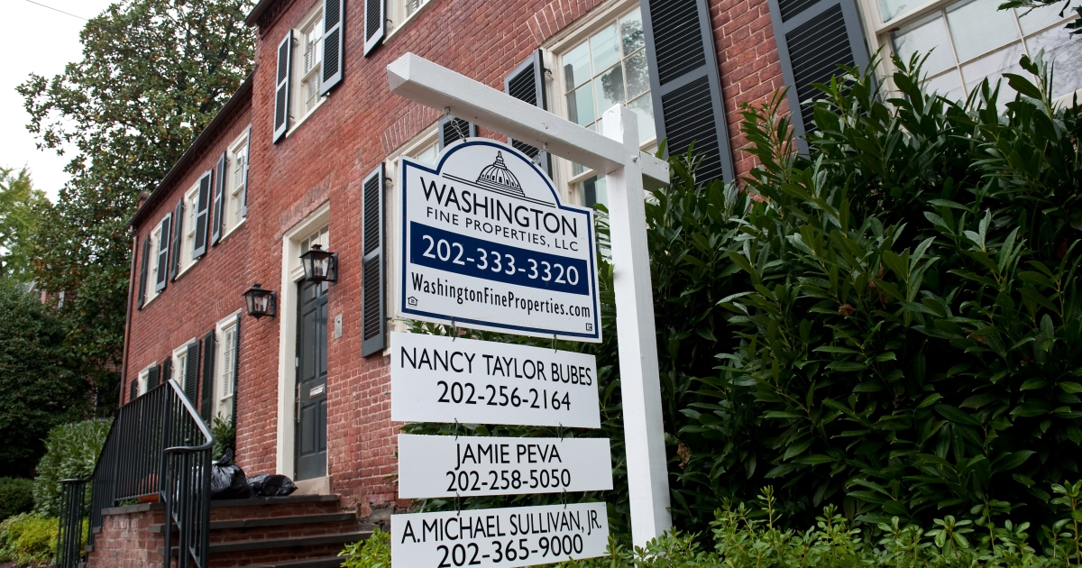 A realtor's sign in front of former IMF Chief Dominique Strauss-Kahn's house in Washington, DC, on Oct. 26, 2011.</p>