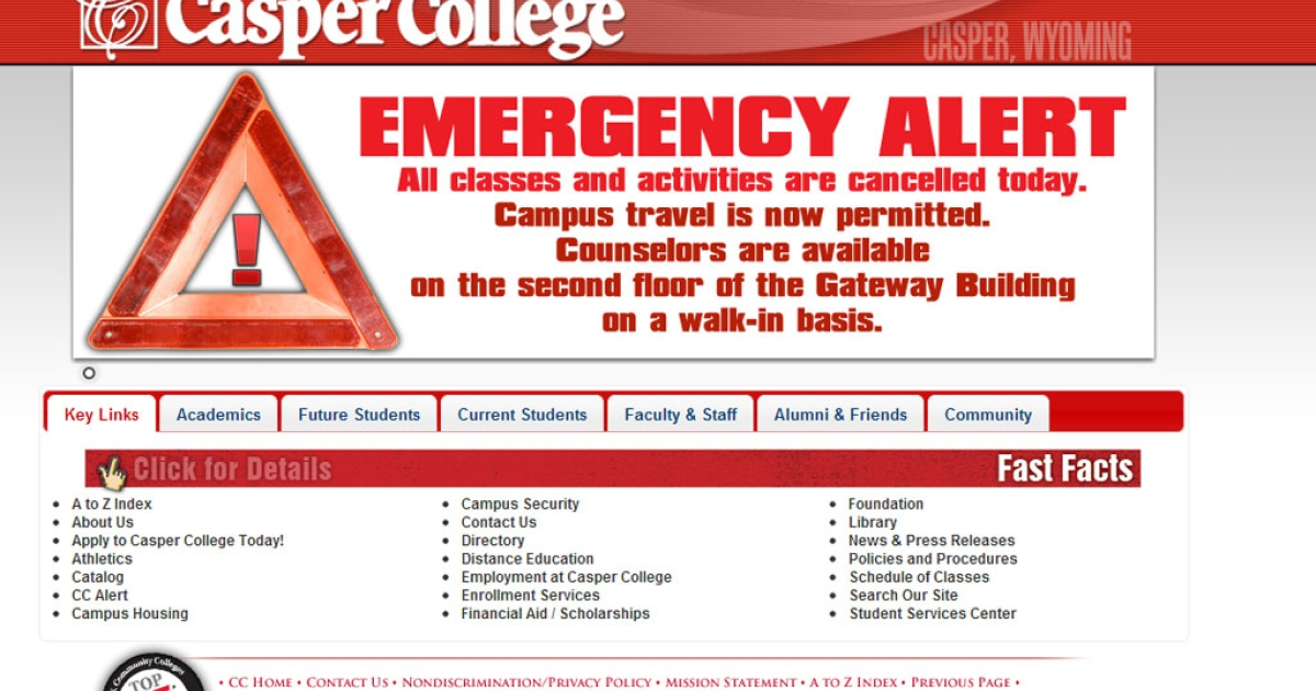 Casper College locked down campus after reports of a homicide there on November 30, 2012. Reports say 3 are dead after an apparent bow-and-arrow attack.</p>