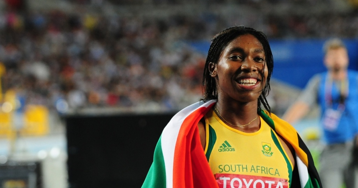 South African runner Caster Semenya celebrates taking silver in the women's 800 metres final at the International Association of Athletics Federations (IAAF) World Championships in 2011.</p>