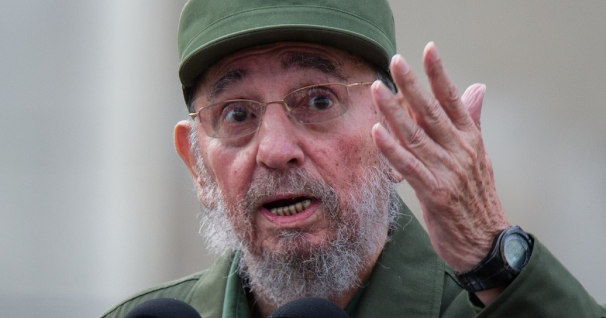 Former Cuban President Fidel Castro delivers a speech during the commemoration of the 50th Anniversary of the Committees of Defense of the Revolution (CDR) on Sept. 28, 2010 in Havana.</p>