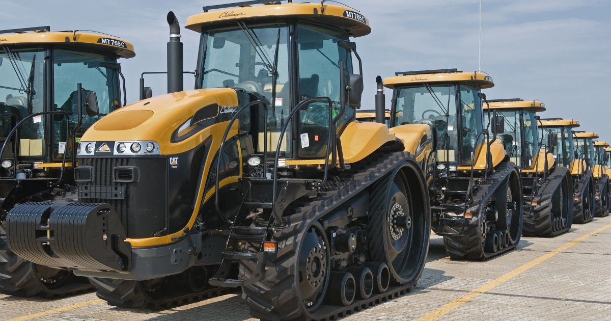 Caterpillar 2009 Challenger MT765C farm tractors sit on on the docks of the Port of Baltimore's Dundalk Terminal in Baltimore, Md., waiting to be loaded onto ships for export, on Aug. 27, 2009.</p>