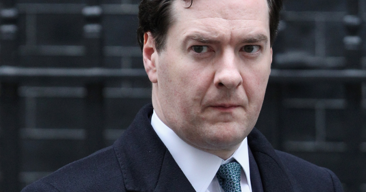 Chancellor of the Exchequer George Osborne outside Number 11 Downing Street in London, UK.</p>