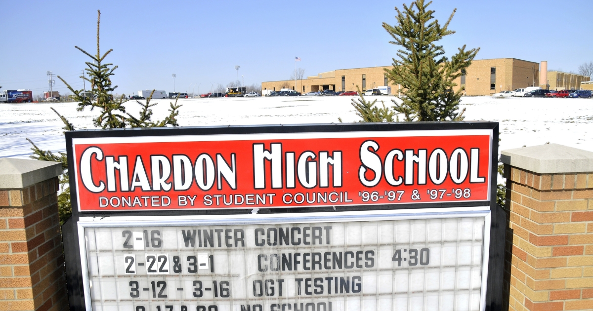 A sign in front of Chardon High School in Chardon, Ohio, where a shooting took place on Feb. 27, 2012.</p>