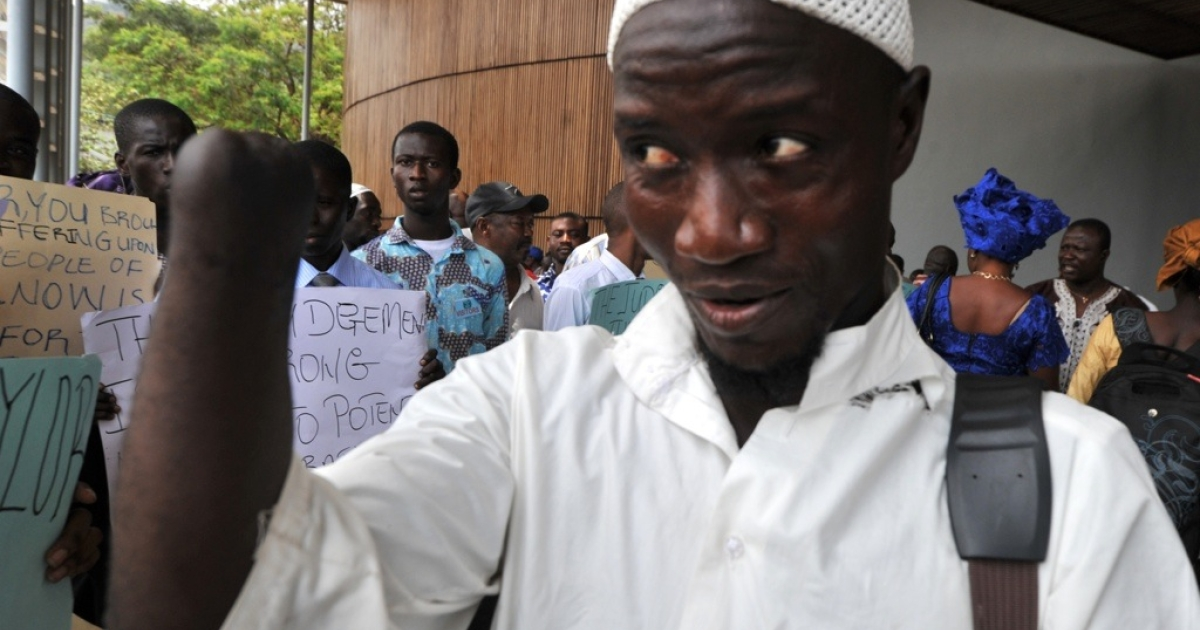 In Freetown, Sierra Leone, Mohamed Traore, one of the amputees of the civil war, welcomes the conviction on war crimes of former Liberian President Charles Taylor. Taylor was found guilty of arming rebels during Sierra Leone's civil war in return for blood diamonds.</p>