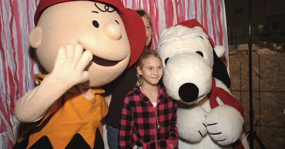 Charlie Brown (L) and Snoopy attend 'Snoopy Brings A Little Love To Long Beach' on December 12, 2012 in New York City.</p>