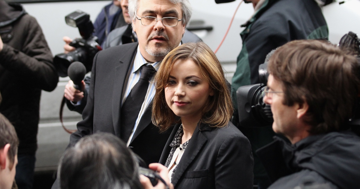 Singer Charlotte Church leaves the Royal Courts of Justice after reading a statement to the press on February 27 in London. Church and her parents were awarded damages and costs of $950,000 from News Group Newspapers, publishers of the now-defunct News of the World tabloid.</p>