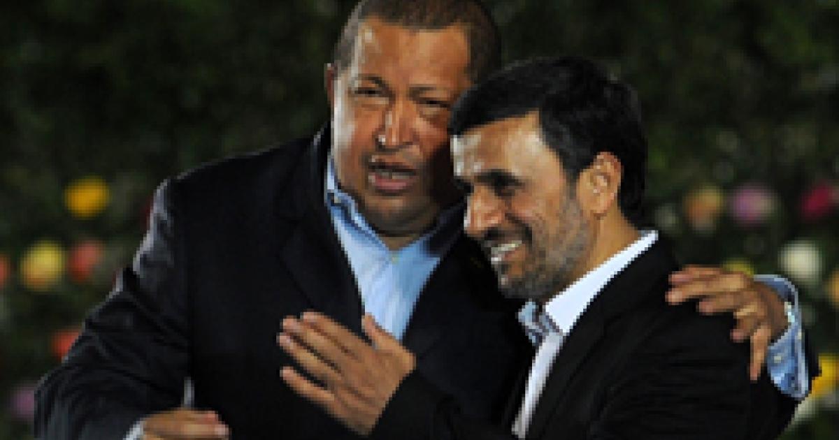 Venezuelan President Hugo Chavez, left, embraces Iranian President Mahmoud Ahmadinejad, in Managua on Jan. 10, during the inauguration of mutual pal Nicaraguan President Daniel Ortega.</p>