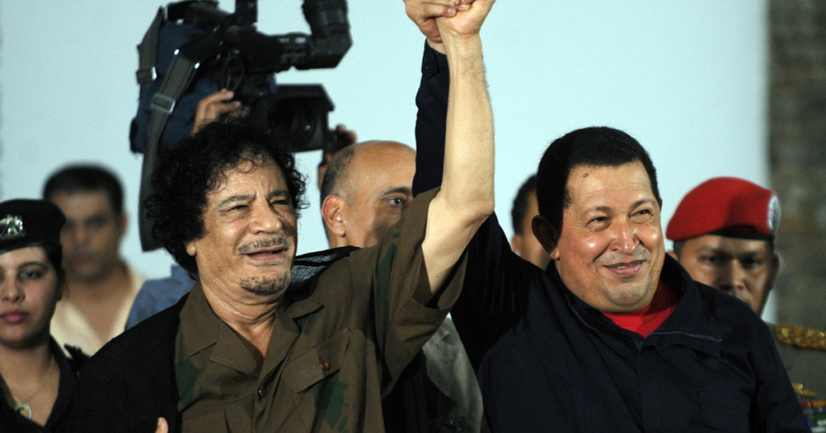 Dictators-in-arms: Gaddafi and Chavez</p>