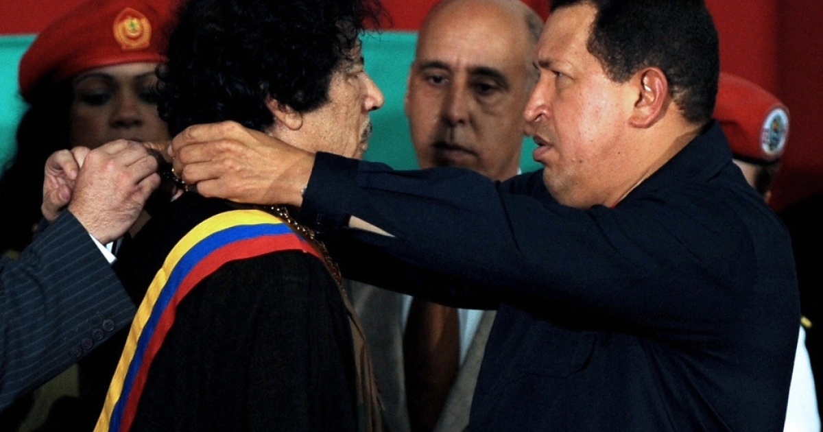 Chavez presented Gaddafi with the Order of the Liberator, Venezuela's highest honor, in 2009.</p>