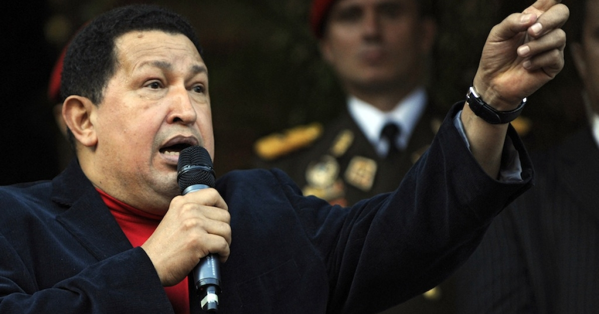 Venezuelan President Hugo Chavez speaks during Brazilian Foreign Minister Antonio de Aguilar Patriota's official visit at Miraflores Presidential Palace in Caracas on Nov. 1, 2012.</p>