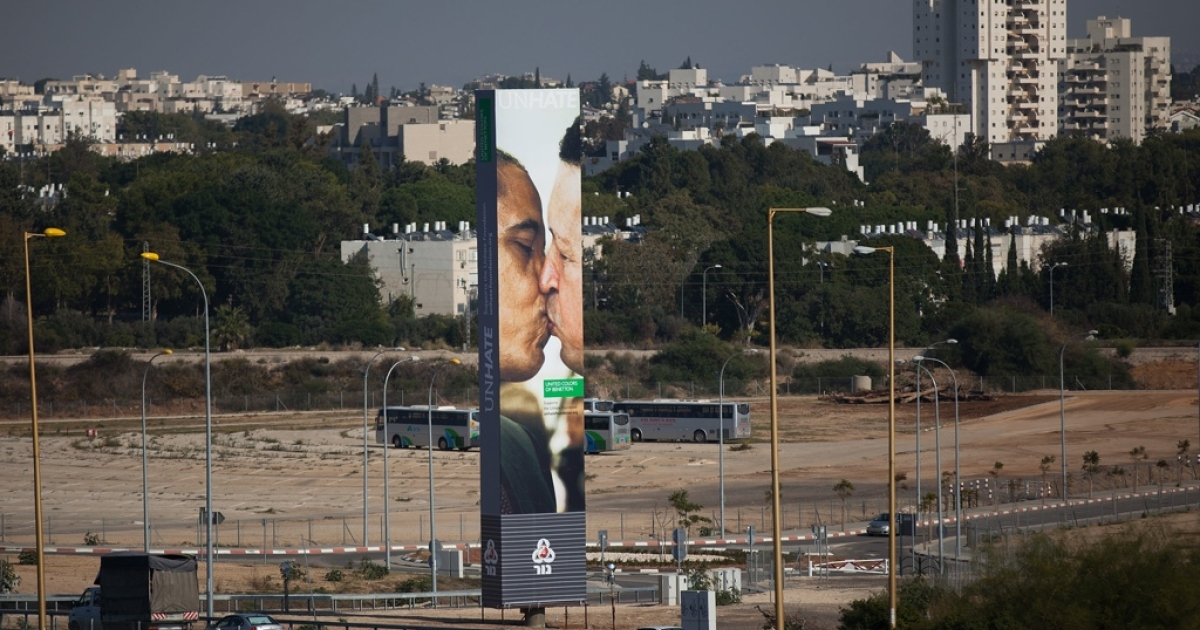 Kiss of death? A Benetton billboard with a composite image of US President Barack Obama and Venezuelan President Hugo Chavez kissing. Both are running for re-election this season, and Chavez has endorsed Obama.</p>