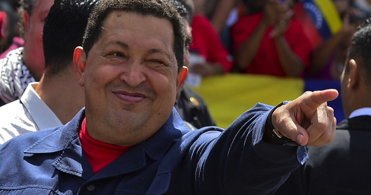 Venezuelan President Hugo Chavez gestures before voting in Caracas on October 07, 2012.  Venezuelans voted Sunday with President Hugo Chavez's 14-year socialist revolution on the line as the leftist leader faced youthful rival Henrique Capriles in his toughest electoral challenge yet.</p>