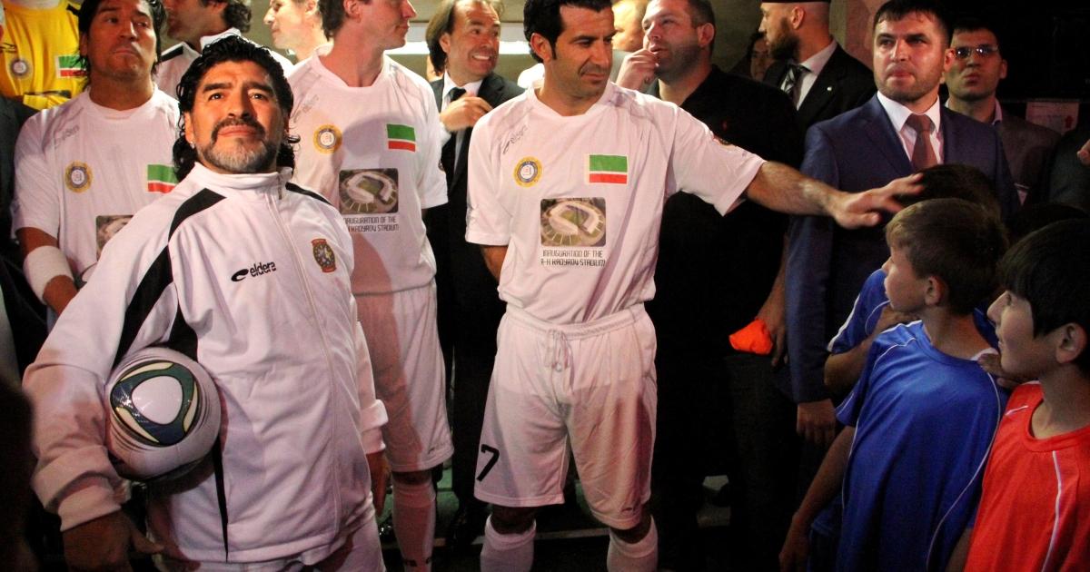Maradano and Figo in Grozny on Wednesday.</p>