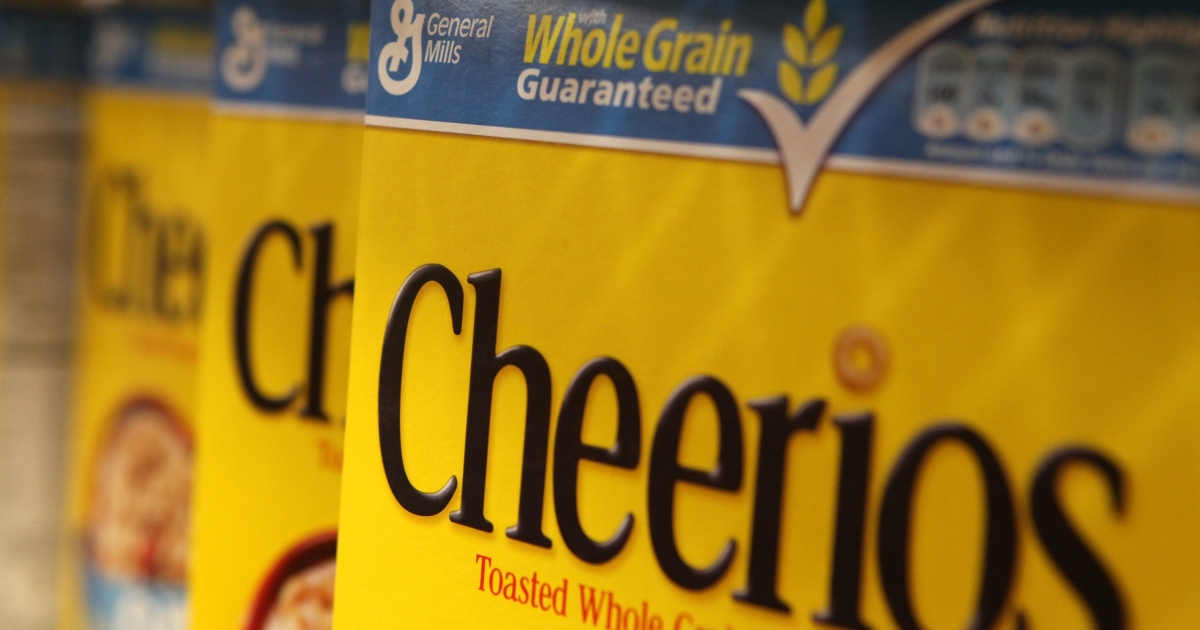 Boxes of Cheerios cereal, made by General Mills, on the shelf at a grocery store in Berkeley, Calif.</p>