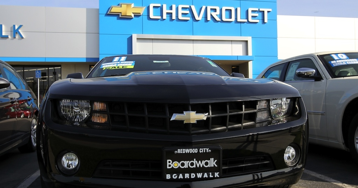 A Chevrolet Camaro is displayed at Boardwalk Chevrolet on November 9, 2011 in Redwood City, California.</p>