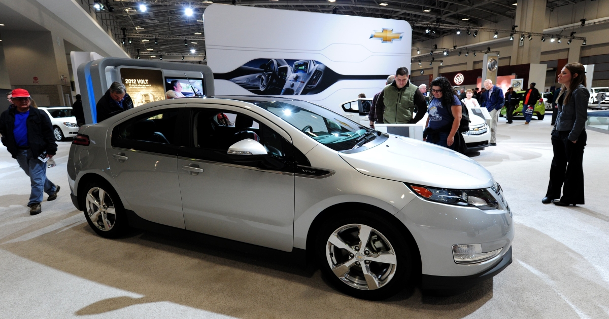 The Chevrolet Volt on display at the 2012 Washington Auto Show in Washington, DC. on Jan. 31, 2012.</p>