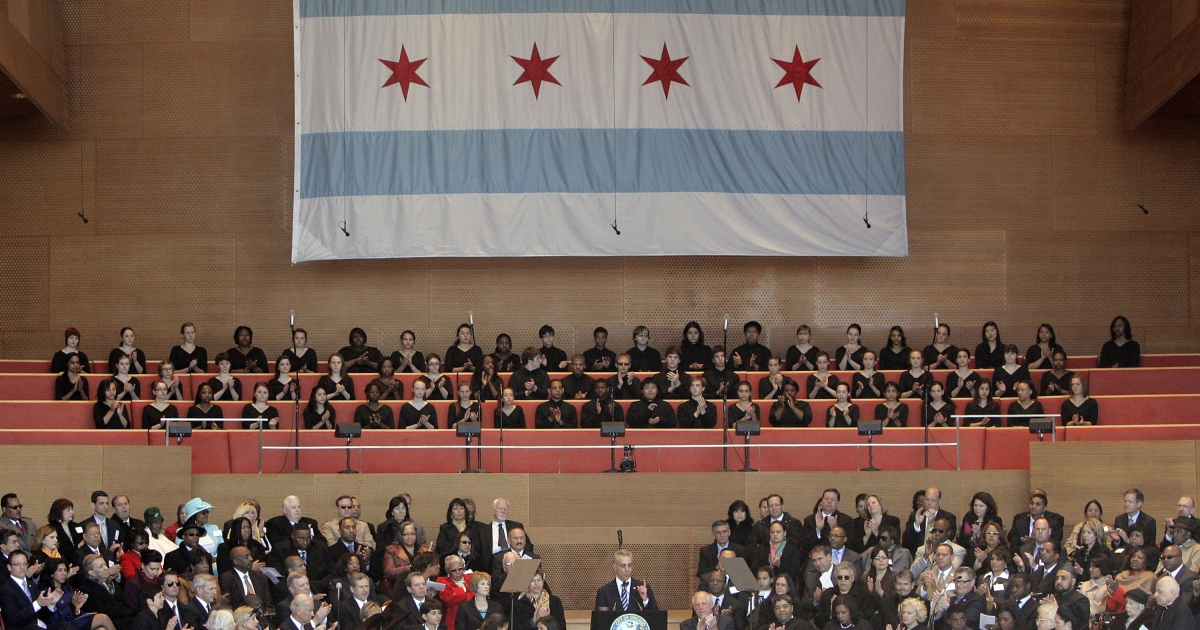 Chicago Mayor Rahm Emanuel speaks during his swearing-in ceremony in Grant Park in Chicago on May 16, 2011.</p>