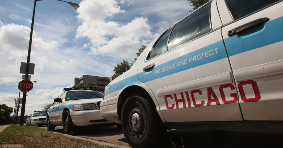 Ford Crown Victorias, being used as Chicago police cars, sit outside a police station on Sept. 8, 2011 in Chicago. (Photo by Scott Olson/Getty Images)</p>