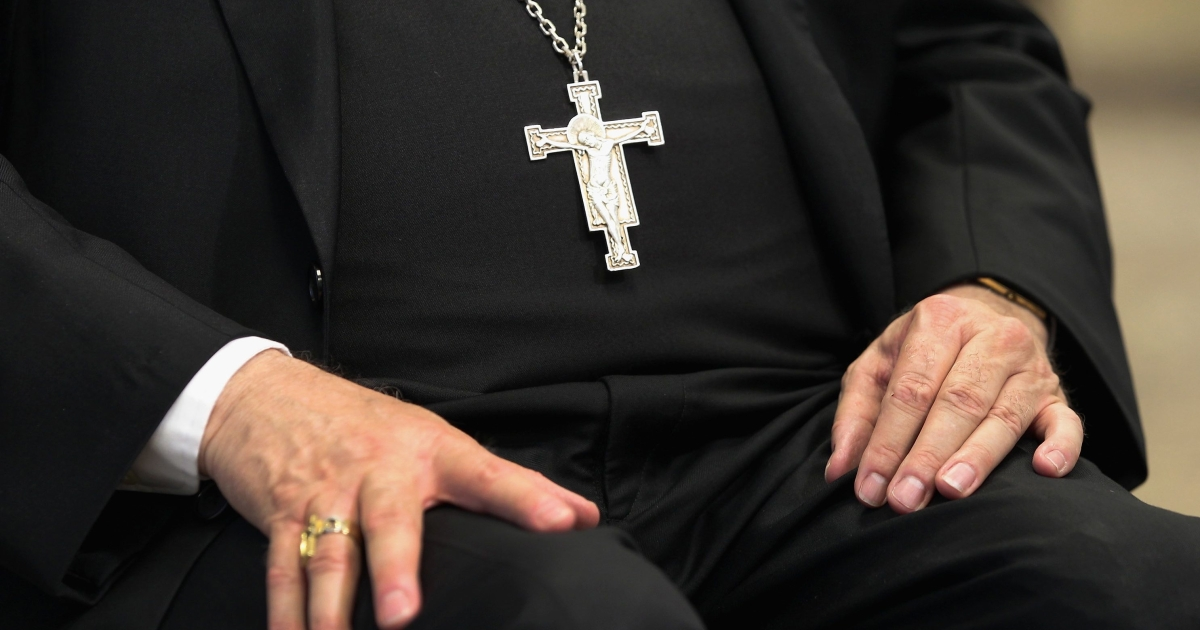 Catholic Archbishop at a news conference on July 20, 2011 in Denver, Colorado.</p>