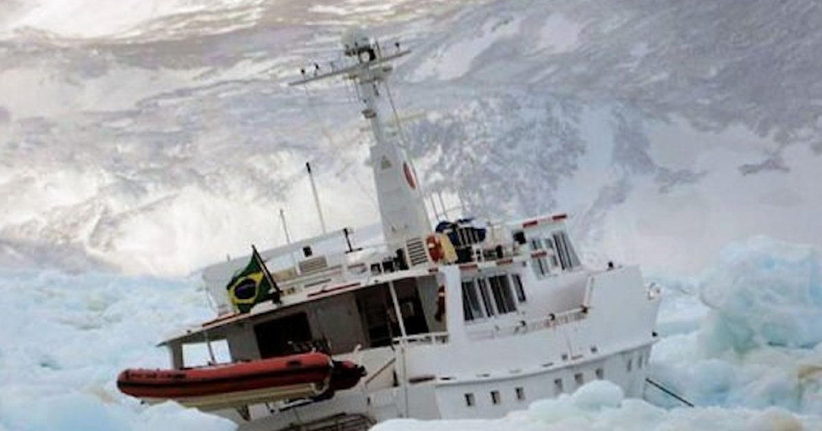 The Chilean navy rescued four Brazilians from their ship that became stuck in Antarctic ice on April 7, 2012.</p>
