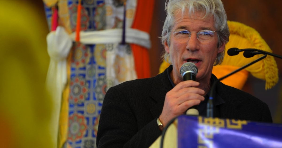 US actor Richard Gere speaks at the unveiling of Tibetan spiritual leader the Dalai Lama's new book 'Beyond Religion' during the last day of the Kalachakra Festival in Bodhgaya on January 10, 2012. Kalachakra 2012, a festival of teachings and meditations will take place from January 1, 2012 for ten days in the northern Indian state of Bihar and will be attended by Tibetan Spiritual Leader The Dalai Lama.</p>