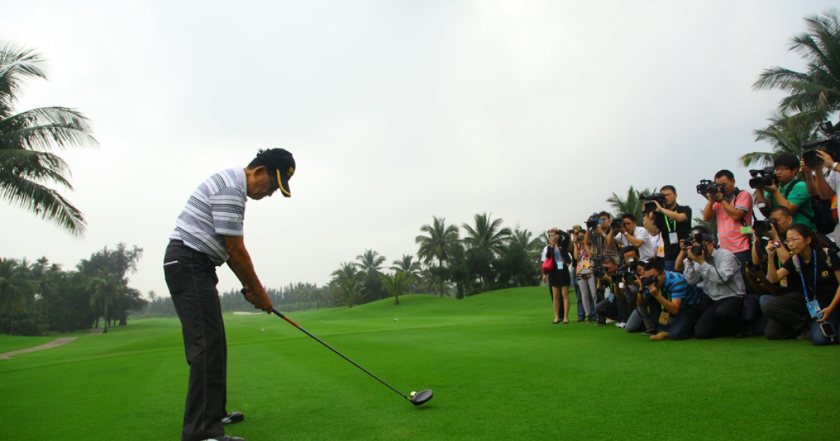 Former President of the Philippines Fidel Valdez Ramos plays a shot during the BFA Golf Invitation 2011 on April 14, 2011 in Boao, Hainan Province of China.</p>