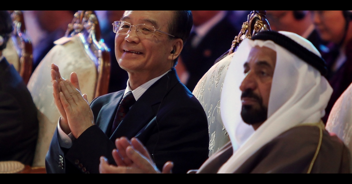 Chinese Prime Minister Wen Jiabao and the ruler of Sharjah, Sultan bin Mohammed al-Qassimi ,attend the China-Arab Business conference in the United Arab Emirates on Jan., 18 2012. Wary of losing access to the Gulf's oil, China may be softening its stance on Syria.</p>