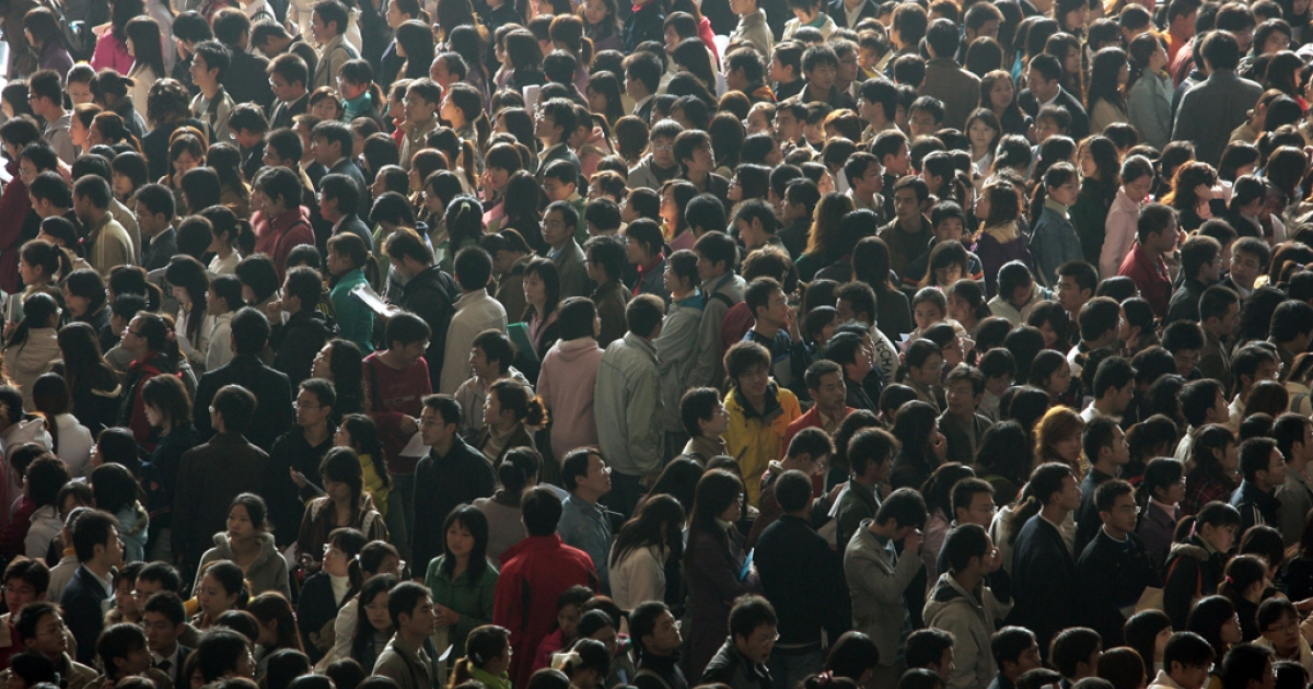 Employment fair in Nanjing, China.</p>