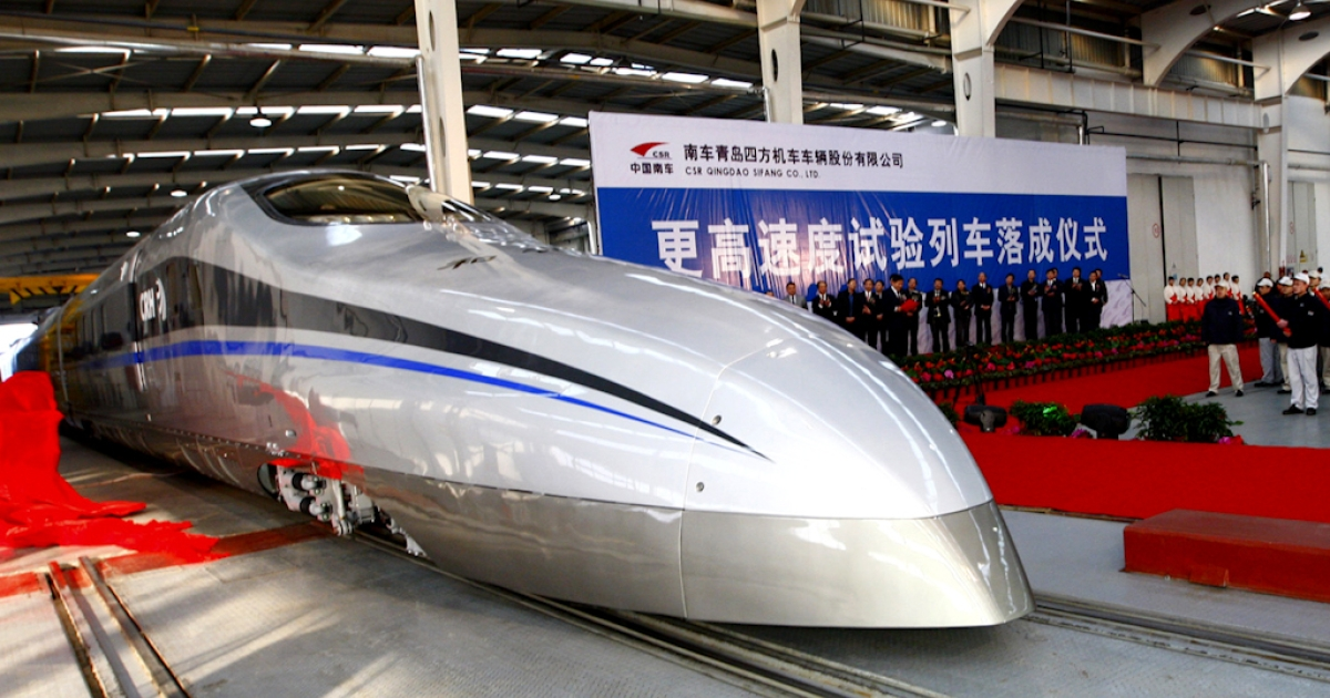 China's latest high-speed test train, capable of reaching speeds of up to 310 miles an hour.</p>