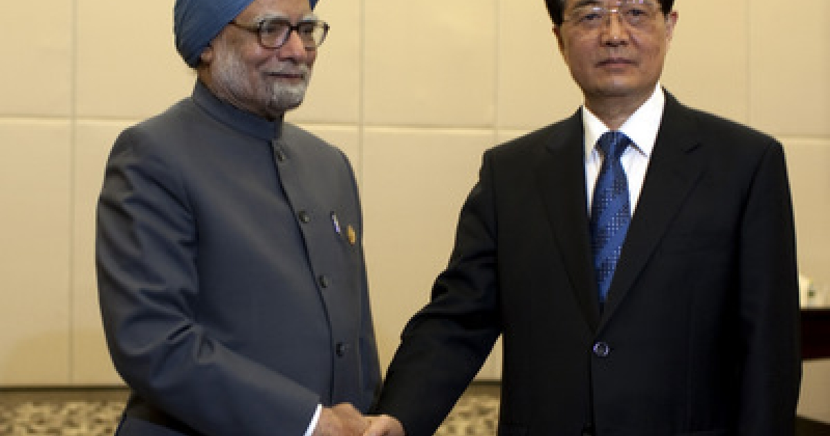 Indian Prime Minister Manmohan Singh (L), is greeted by Chinese president Hu Jintao, on April 13, 2011 in Sanya, Hainan Province, China. Leaders from Brazil, Russia, India, China, and South Africa will meet on April 14 for the 2011 BRICS Summit, an annual gathering of the worlds five leading emerging nations.</p>
