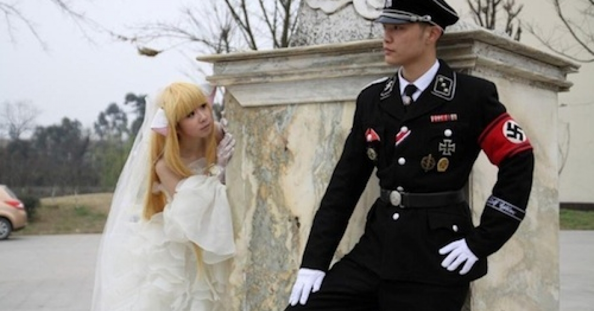 Photos from a Chinese wedding party, circulated by the blog China Hush, feature a couple posing in elaborate Nazi costumes.</p>